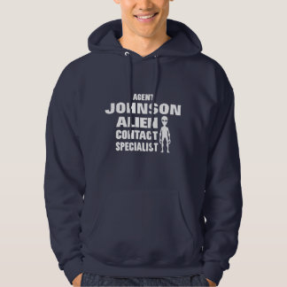 Funny Alien Contact Agent Personalized Name Hooded Sweatshirt