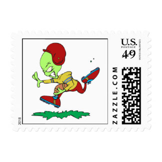funny alien football player postage stamps
