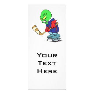 funny alien ice hockey player rack card