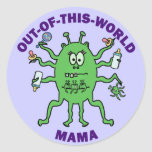Funny Alien Mama Mother's Day Round Stickers