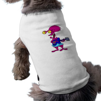 Funny alien playing guitar dog tee shirt