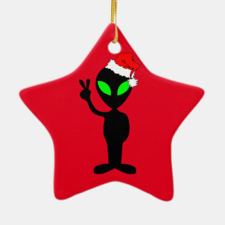 funny alien Santa Ceramic Ornament