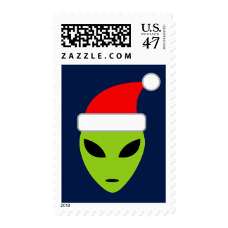 Funny alien Santa Claus Christmas stamps