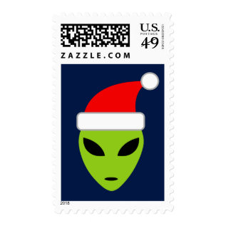 Funny Alien Santa Claus Christmas Stamps at Zazzle