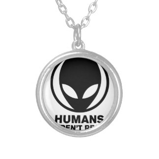 Funny Alien Silver Plated Necklace
