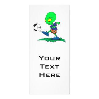 funny alien soccer player kicking ball rack card