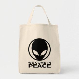 Funny Alien We Come In Peace Tote Bag