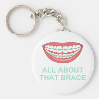 Funny All About the Brace Spoof Basic Round Button Keychain