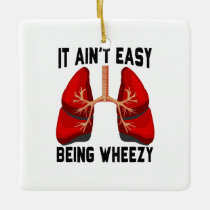 Funny Allergy Being Wheezy square Ceramic Ornament