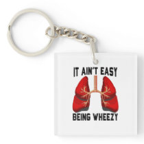 Funny Allergy Being Wheezy square Keychain