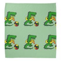 Funny Alligator at the Beach Cartoon Bandana