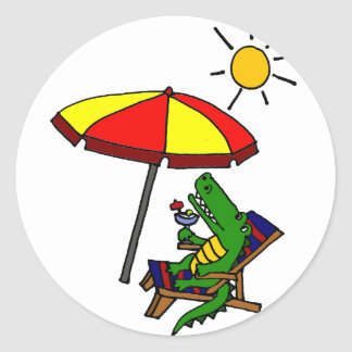 Funny Alligator at the Beach Design Classic Round Sticker