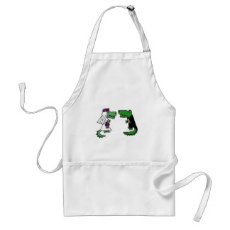 Funny Alligator Bride and Groom Cartoon Adult Apron