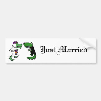 Funny Alligator Bride and Groom Cartoon Bumper Sticker