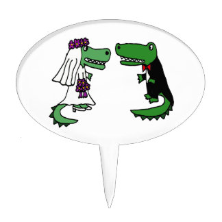 Funny Alligator Bride and Groom Cartoon Cake Topper