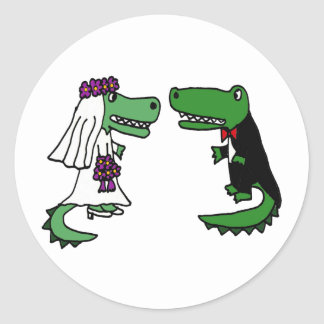 Funny Alligator Bride and Groom Cartoon Classic Round Sticker