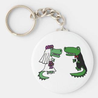 Funny Alligator Bride and Groom Cartoon Key Chain