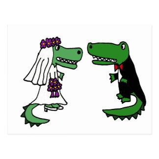 Funny Alligator Bride and Groom Cartoon Postcard