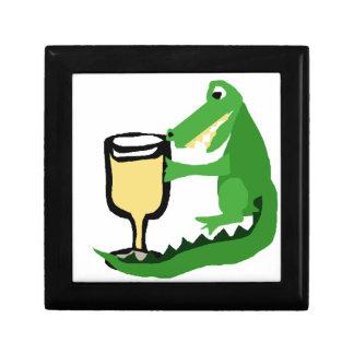 Funny Alligator Drinking Glass of White Wine Jewelry Box