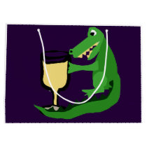 Funny Alligator Drinking Glass of White Wine Large Gift Bag