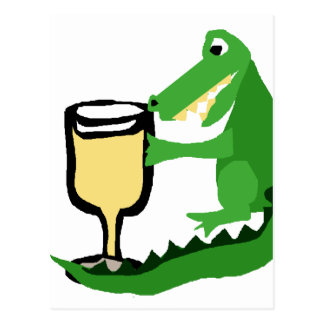 Funny Alligator Drinking Glass of White Wine Postcard
