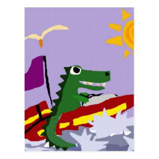 Funny Alligator Driving Speedboat Postcard