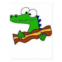 Funny Alligator Eating Bacon Artwork Postcard