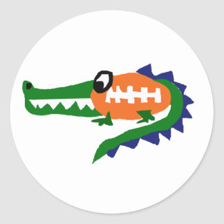 Funny Alligator Football Art Classic Round Sticker