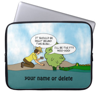 Funny Alligator Geocaching Personalized Laptop Computer Sleeves