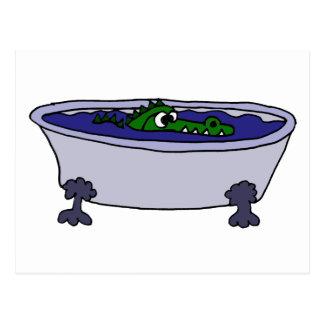 Funny Alligator in a Bathtub Cartoon Postcard