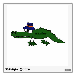 Funny Alligator in Fishing Hat Art Design Wall Decal