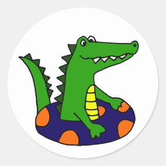 Funny Alligator in Inner Tube Classic Round Sticker