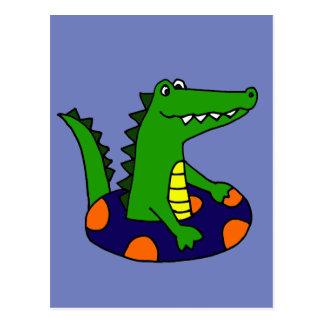 Funny Alligator in Inner Tube Postcard