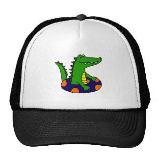 Funny Alligator in Inner Tube Trucker Hat