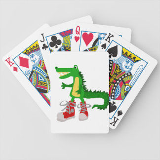 Funny Alligator in Red High Top Sneakers Bicycle Playing Cards