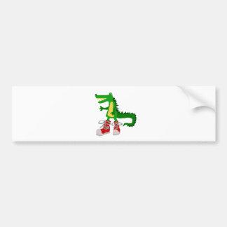 Funny Alligator in Red High Top Sneakers Car Bumper Sticker