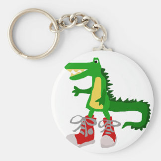 Funny Alligator in Red High Top Sneakers Keychain