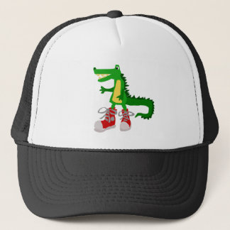 Funny Alligator in Red High Top Sneakers Trucker Hat