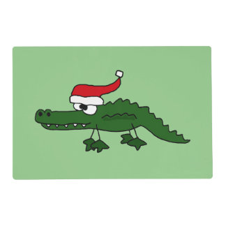 Funny Alligator in Santa Hat Christmas Placemat