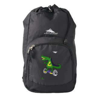 Funny Alligator on Motorized Skateboard High Sierra Backpack