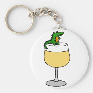 Funny Alligator on Wine Glass Keychain