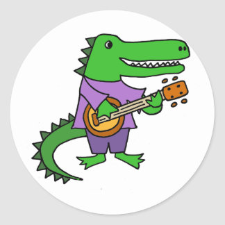 Funny Alligator Playing Banjo Cartoon Classic Round Sticker