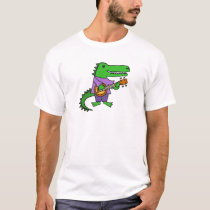 Funny Alligator Playing Banjo Cartoon T-Shirt