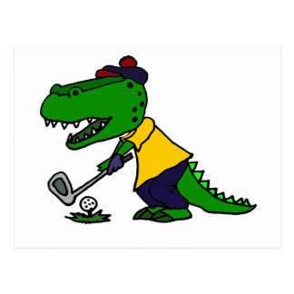 Funny Alligator Playing Golf Postcard