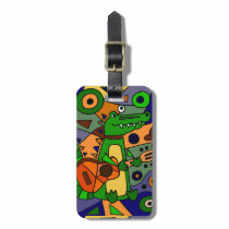 Funny Alligator Playing Guitar Original Modern Art Luggage Tag