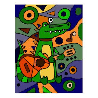 Funny Alligator Playing Guitar Original Modern Art Postcard