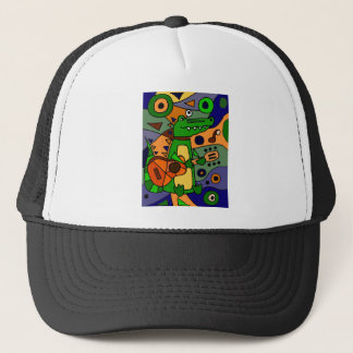 Funny Alligator Playing Guitar Original Modern Art Trucker Hat