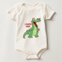 Funny Alligator Pooped Today Baby Bodysuit