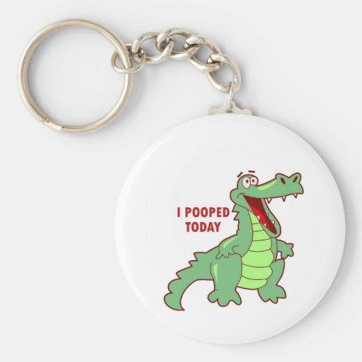 Funny Alligator Pooped Today Basic Round Button Keychain