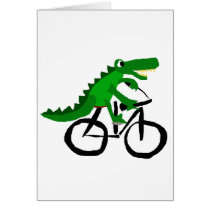 Funny Alligator Riding Bicycle